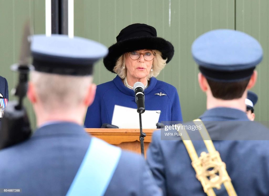 Camilla, Duchess of Cornwall speaks during a visit to RAF Leeming for the 100 Squadron Centenary on March 18, 2017 in Gatenby, Northallerton, England.