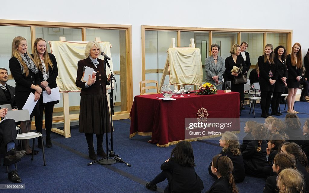 <a gi-track='captionPersonalityLinkClicked' href=/galleries/search?phrase=Camilla+-+Duchess+of+Cornwall&family=editorial&specificpeople=158157 ng-click='$event.stopPropagation()'>Camilla</a>, Duchess Of Cornwall speaks during a visit to St Catherine's School in Bramley, Surrey on February 13, 2014 in Guildford, England.