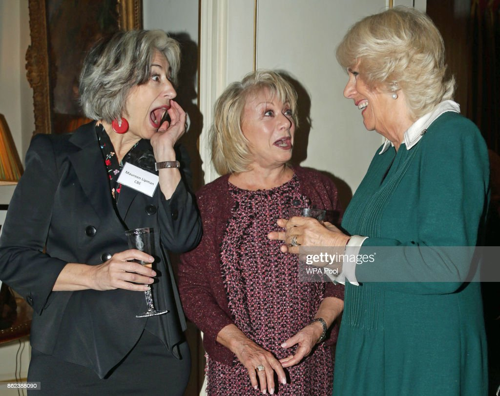 Camilla, Duchess of Cornwall (R) speaks to Maureen Lipman (L) and Elaine Paige (C) attend a reception to celebrate the launch of the 'Our Amazing People' campaign at Clarence House on October 17, 2017 in London, England. The Duchess of Cornwall is an advocate of active ageing and the welfare of the older generation. Her Royal Highness has been President of the Royal Voluntary Service since 2012 and became patron of The Silver Line, a helpline for elderly people, as part of her 70th birthday celebrations this summer.