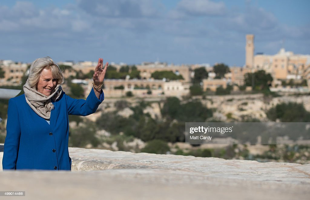 Camilla, Duchess of Cornwall takes a walking tour of the old town of Mdina in central Malta on November 28, 2015 near Valletta, Malta. Queen Elizabeth II, The Duke of Edinburgh, Prince Charles, Prince of Wales and Camilla, Duchess of Cornwall arrived in Malta are on their final day of a visit to the island that has been hosting the Commonwealth Heads of State Summit.