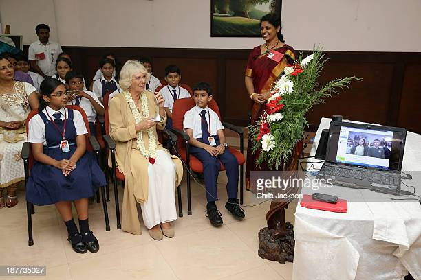 Camilla Duchess of Cornwall takes part in a Skype conversation with Rajagiri School and Summerlea Community Primary School in West Sussex as she...