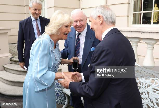 Camilla Duchess of Cornwall talking to guests at a reception to mark her 70th birthday at Clarence House on July 13 2017 in London England