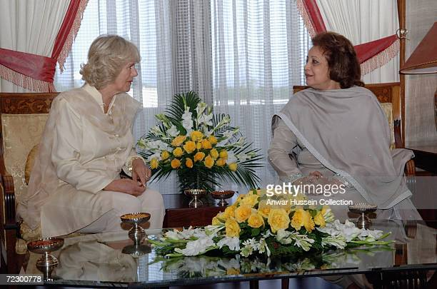 Camilla Duchess of Cornwall talks to Sebha Musharraf at the Presidency on day two of a week long tour of the country on October 30 2006 in Islamabad...