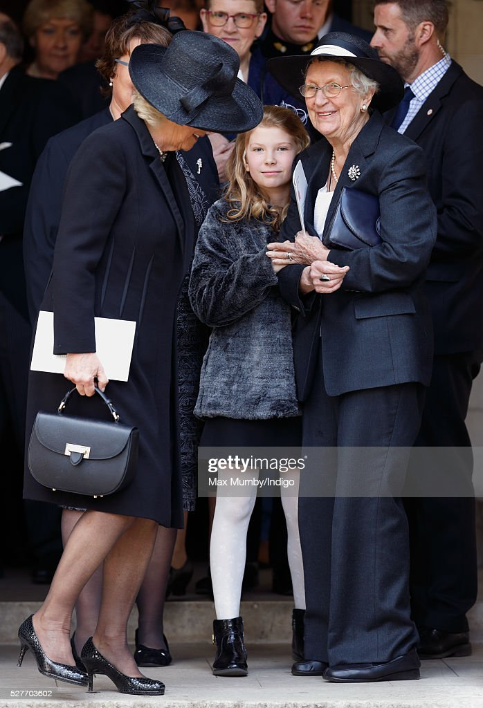 <a gi-track='captionPersonalityLinkClicked' href=/galleries/search?phrase=Camilla+-+Duchess+of+Cornwall&family=editorial&specificpeople=158157 ng-click='$event.stopPropagation()'>Camilla</a>, Duchess of Cornwall (l) talks with Elspeth Howe (r) as she attends a Service of Thanksgiving for the life of Geoffrey Howe (Lord Howe of Aberavon) at St Margaret's Church, Westminster Abbey on May 3, 2016 in London, England. Conservative politician Geoffrey Howe who served as Chancellor of the Exchequer and Foreign Secretary during the 1980's died aged 88 on October 9, 2015.
