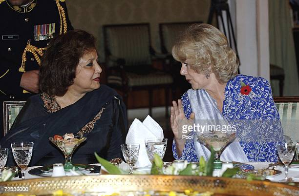 Camilla Duchess of Cornwall talks with Sehba Musharraf as they attend the Presedential Banquet on November 1 2006 in Islamabad Pakistan On their...