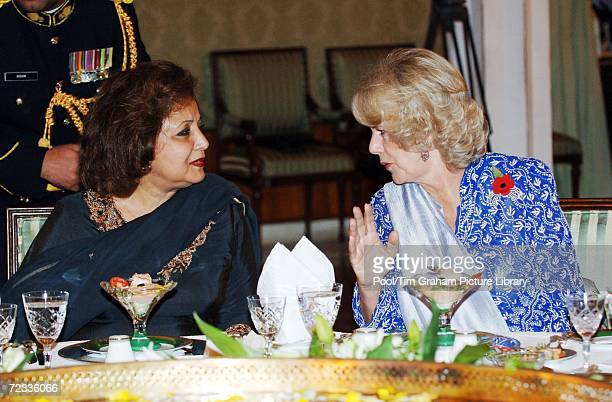 Camilla Duchess of Cornwall talks with the Pakistani President's wife Sehba Musharraf at a Presidential banquet at the President's Palace in...
