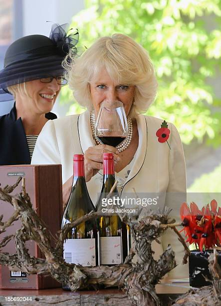 Camilla Duchess of Cornwall tastes wine at the Penfolds Magill State Winery on November 7 2012 in Adelaide Australia The Royal couple are in...