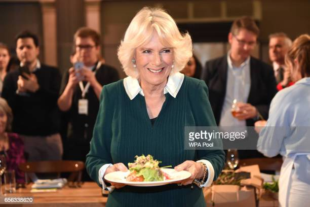Camilla Duchess of Cornwall the patron of UK Harvest attends the CEO Cook Off in support of UK Harvest and the Jamie Oliver Food Foundation at Old...