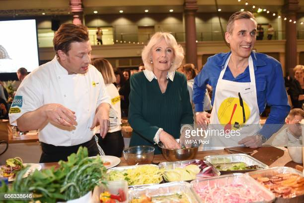 Camilla Duchess of Cornwall the patron of UK Harvest chef Jamie Oliver and Peter Harding CEO of Lucozade Ribena Suntory attend the CEO Cook Off in...