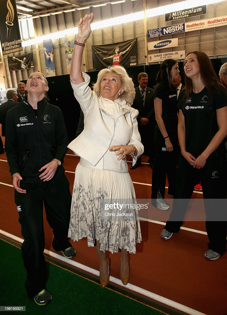 <a gi-track='captionPersonalityLinkClicked' href=/galleries/search?phrase=Camilla+-+Duchess+of+Cornwall&family=editorial&specificpeople=158157 ng-click='$event.stopPropagation()'>Camilla</a>, Duchess of Cornwall throws a netball during a visit to AUT Millennium on November 12, 2012 in Auckland, New Zealand. The Royal couple are in New Zealand on the last leg of a Diamond Jubilee that takes in Papua New Guinea, Australia and New Zealand.