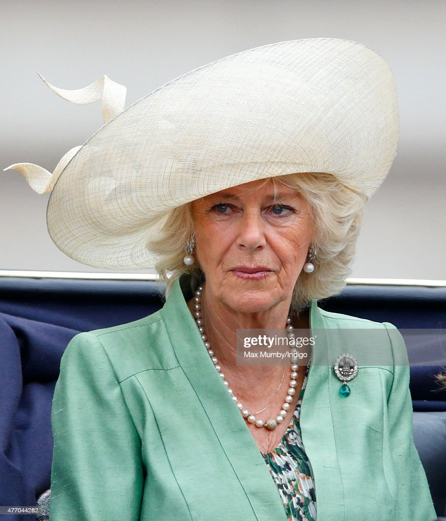Camilla, Duchess of Cornwall travels down The Mall in a horse drawn carriage during Trooping the Colour on June 13, 2015 in London, England. The ceremony is Queen Elizabeth II's annual birthday parade and dates back to the time of Charles II in the 17th Century, when the Colours of a regiment were used as a rallying point in battle.