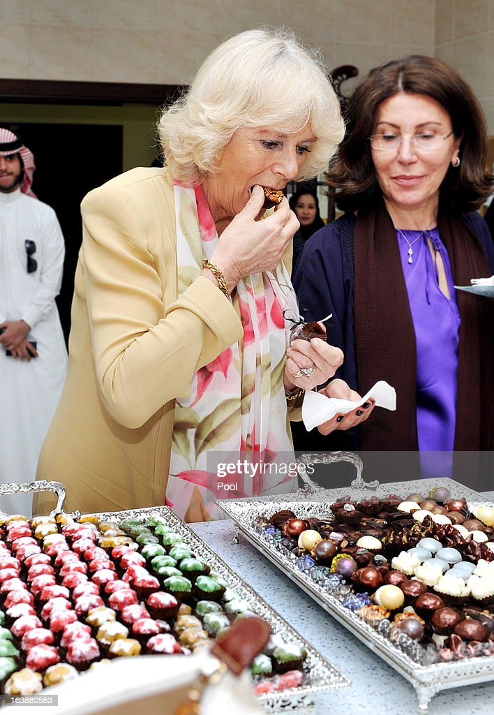 <a gi-track='captionPersonalityLinkClicked' href=/galleries/search?phrase=Camilla+-+Duchess+of+Cornwall&family=editorial&specificpeople=158157 ng-click='$event.stopPropagation()'>Camilla</a>, Duchess of Cornwall tries some chocolates made by women who are learning cooking skills at the Bab Rizq Jameel Nafisa Shams Female Academy for Arts and Crafts on March 17, 2013 ,Jeddah, Saudi Arabia.