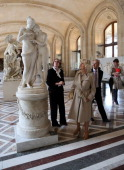 Camilla Duchess of Cornwall views a sculpture as she visits the Louvre Museum on May 28 2013 in Paris France Camilla is on her first overseas solo...