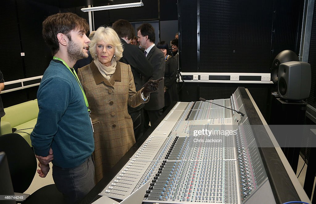 Camilla, Duchess of Cornwall visits a recording studio during an official visit to Essex and High House Production Park on January 29, 2014 in Purfleet, England. High House Production Park is a world-class centre for technical skills, crafts and artistic production and training, which is home to the Royal Opera House's Bob and Tamar Manoukian Production workshop, the National Skills Academys Backstage Centre and Acme High House Artists Studios.