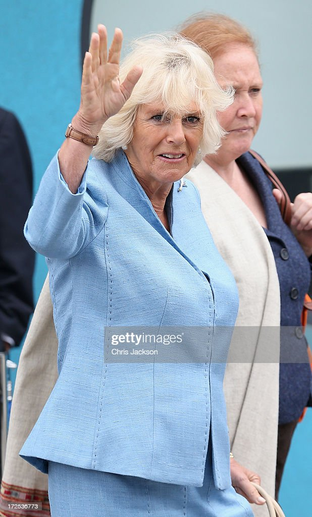 Camilla, Duchess of Cornwall visits BBC Roath Lock Studios on July 3, 2013 in Cardiff, Wales.