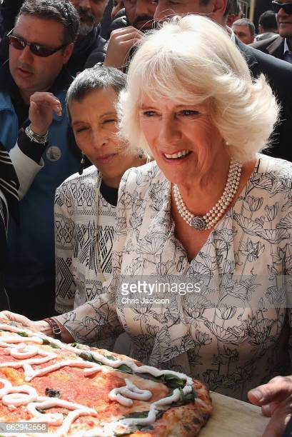 Camilla Duchess of Cornwall visits fashion house E Marinella on the second day of her tour of Italy on April 1 2017 in Naples Italy HRH will visit...