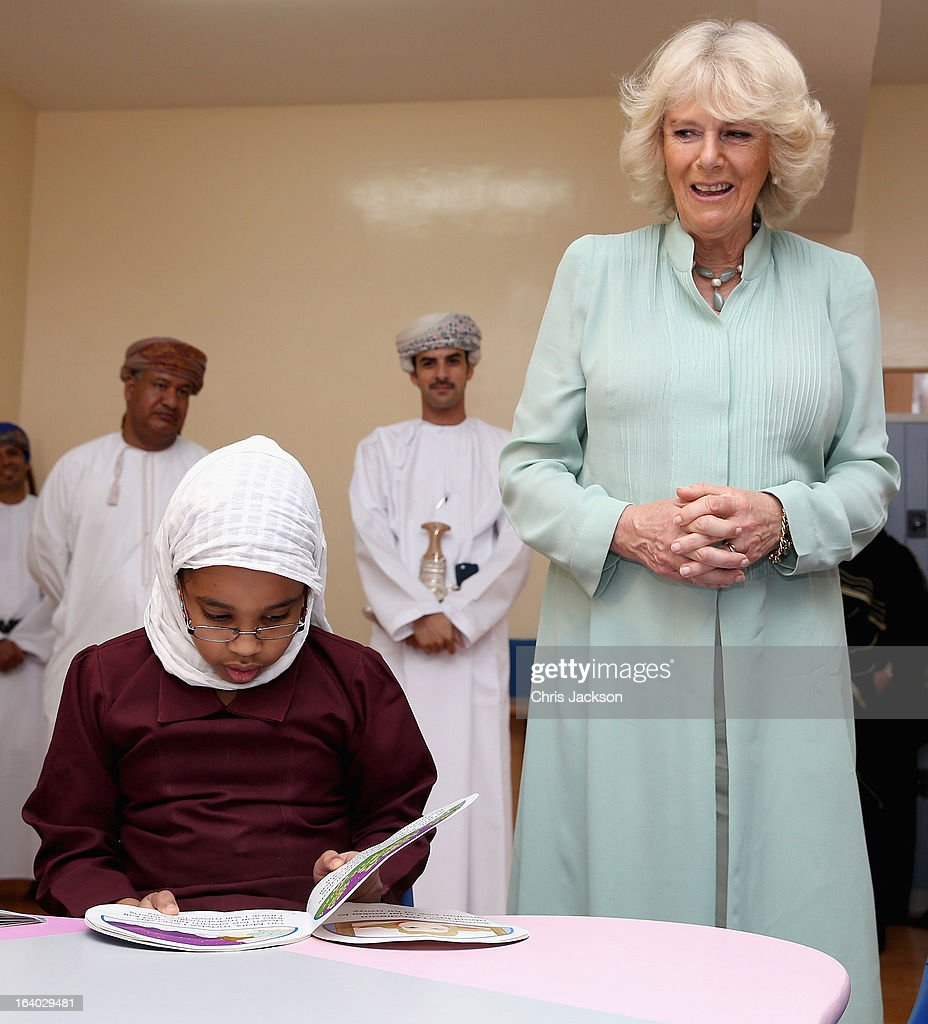 <a gi-track='captionPersonalityLinkClicked' href=/galleries/search?phrase=Camilla+-+Duchess+of+Cornwall&family=editorial&specificpeople=158157 ng-click='$event.stopPropagation()'>Camilla</a>, Duchess of Cornwall visits Shams Al Ma'aref School on the ninth day of a tour of the Middle East on March 19, 2013 in Muscat, Oman. The Royal couple are on the fourth and final leg of a tour of the Middle East taking in Jordan, Qatar, Saudia Arabia and Oman.