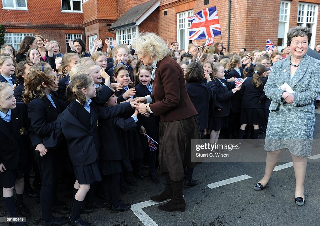<a gi-track='captionPersonalityLinkClicked' href=/galleries/search?phrase=Camilla+-+Duchess+of+Cornwall&family=editorial&specificpeople=158157 ng-click='$event.stopPropagation()'>Camilla</a>, Duchess Of Cornwall visits St Catherine's School in Bramley, Surrey on February 13, 2014 in Guildford, England.