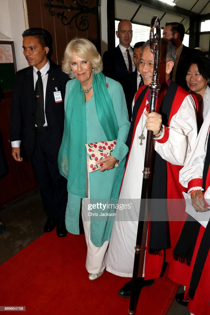 Camilla, Duchess of Cornwall visits St. Mary's Cathedral during her visit on November 4, 2017 in Kuala Lumpur, Malaysia. Prince Charles, Prince of Wales and Camilla, Duchess of Cornwall are on a tour of Singapore, Malaysia, Brunei and India.