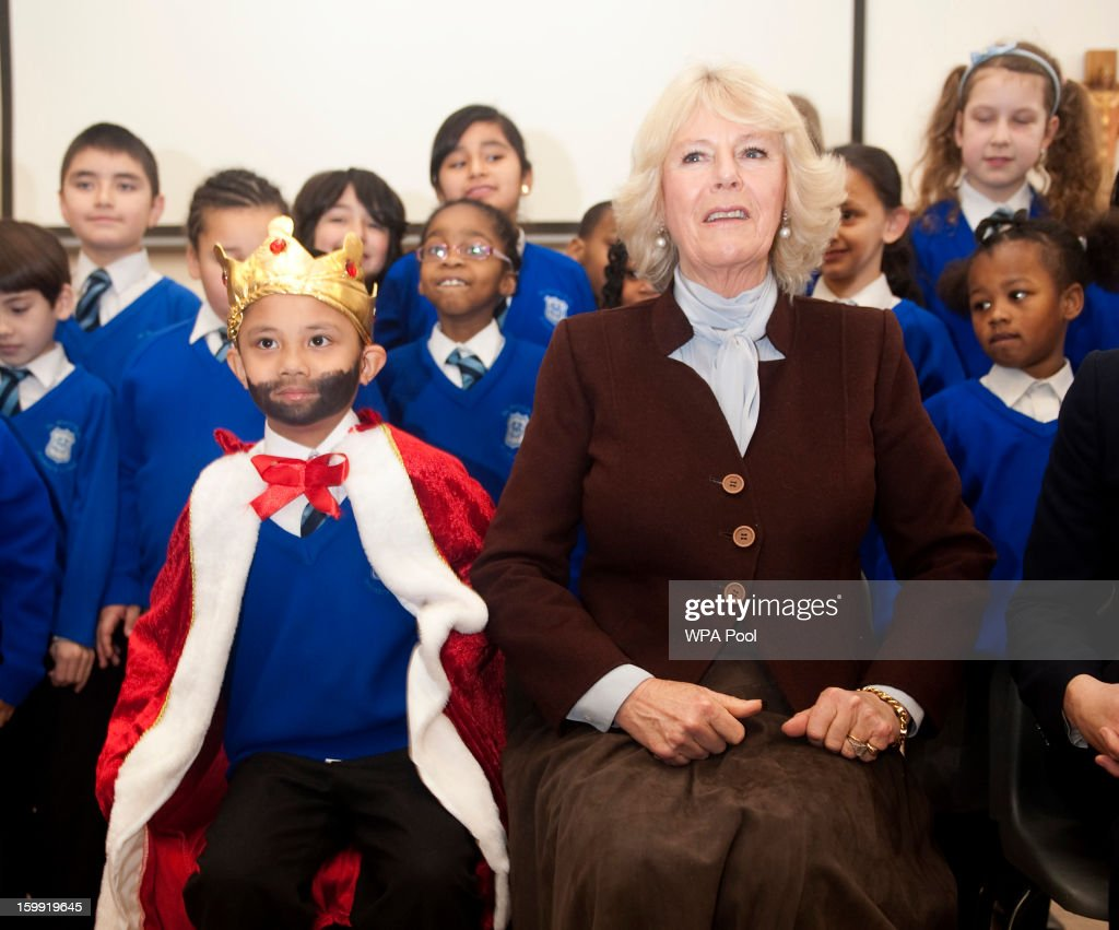 Camilla, Duchess of Cornwall visits St Mary's R. C. Primary School in Battersea on January 23, 2012 in London, England. The Duchess met with children benefiting from a reading project run by the Beanstalk literacy charity.