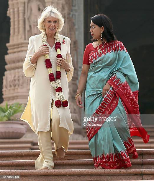 Camilla Duchess of Cornwall visits the Akshardham Temple during day 3 of an official visit to India on November 8 2013 in Delhi India This will be...