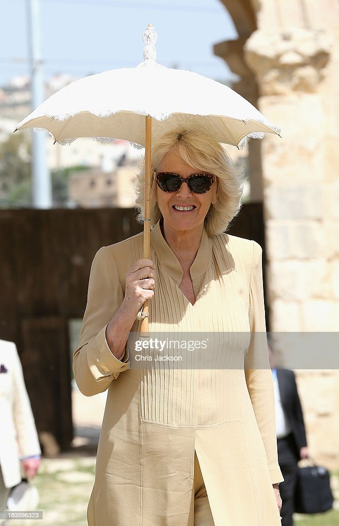 Camilla, Duchess of Cornwall visits the ancient Roman ruins in Jaresh on the third day of a visit to the country on March 13, 2013 in Jaresh, Jordan. The Royal couple are on the first leg of a tour of the Middle East taking in Qatar, Saudia Arabia and Oman.