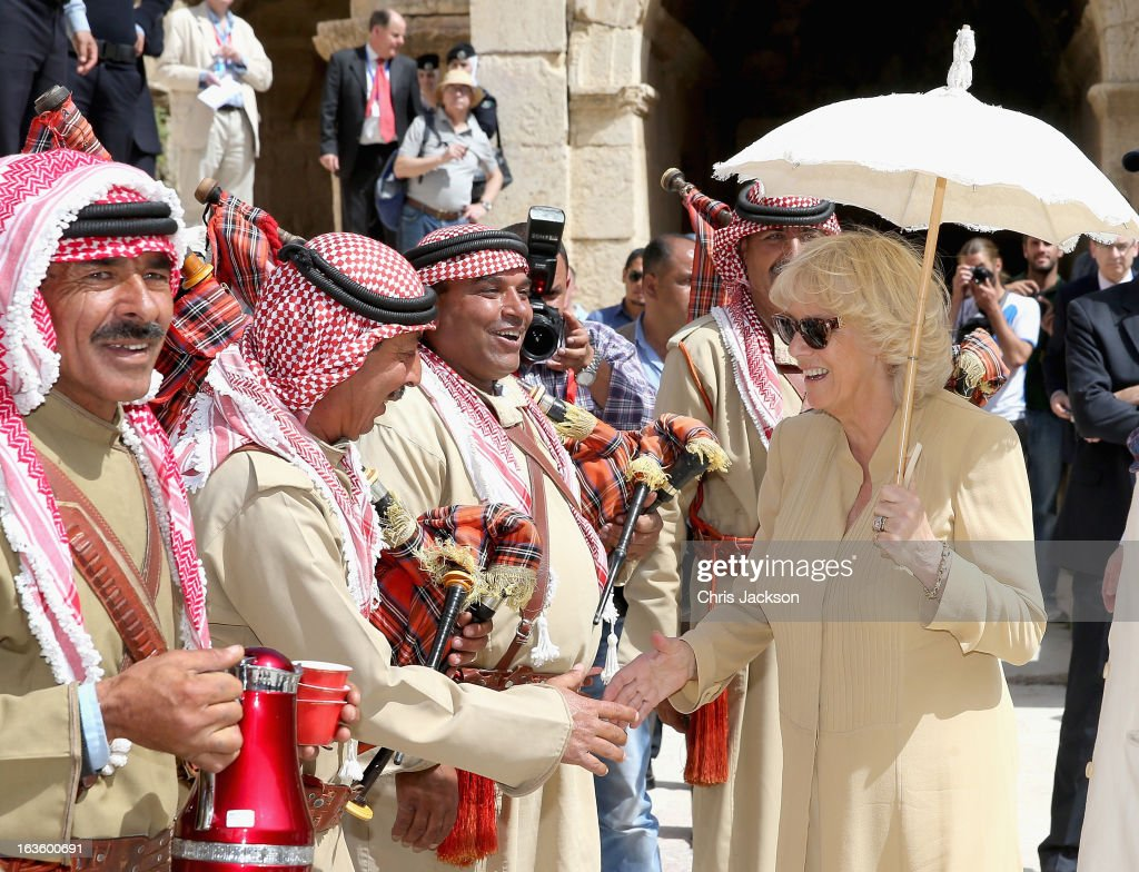<a gi-track='captionPersonalityLinkClicked' href=/galleries/search?phrase=Camilla+-+Duchess+of+Cornwall&family=editorial&specificpeople=158157 ng-click='$event.stopPropagation()'>Camilla</a>, Duchess of Cornwall visits the ancient Roman ruins in Jaresh on the third day of a visit to the country on March 13, 2013 in Jaresh, Jordan. The Royal couple are on the first leg of a tour of the Middle East taking in Qatar, Saudia Arabia and Oman.
