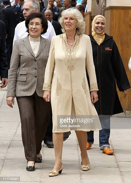 Camilla Duchess of Cornwall visits the Artisanal Centre on day three of a three day visit to Morocco on April 6 2011 in Fez Morocco Camilla Duchess...