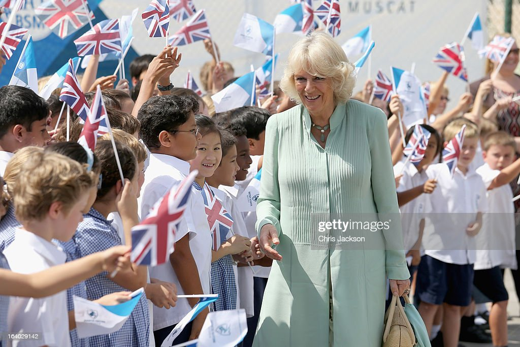 <a gi-track='captionPersonalityLinkClicked' href=/galleries/search?phrase=Camilla+-+Duchess+of+Cornwall&family=editorial&specificpeople=158157 ng-click='$event.stopPropagation()'>Camilla</a>, Duchess of Cornwall visits the British School in Muscat on the ninth day of a tour of the Middle East on March 19, 2013 in Muscat, Oman. The Royal couple are on the fourth and final leg of a tour of the Middle East taking in Jordan, Qatar, Saudia Arabia and Oman.