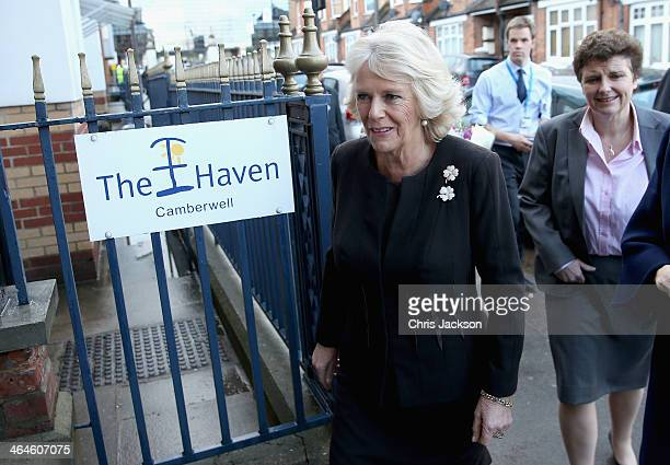 Camilla Duchess of Cornwall visits the 'Haven' as part of an official visit to King's College Hospital on January 23 2014 in London England The...