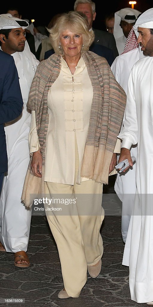 Camilla, Duchess of Cornwall visits the Katara Cultural Village on the fourth day of a tour of the Middle East on March 14, 2013 in Doha, Qatar. The Royal couple are on the second leg of a tour of the Middle East taking in Qatar, Saudia Arabia and Oman.