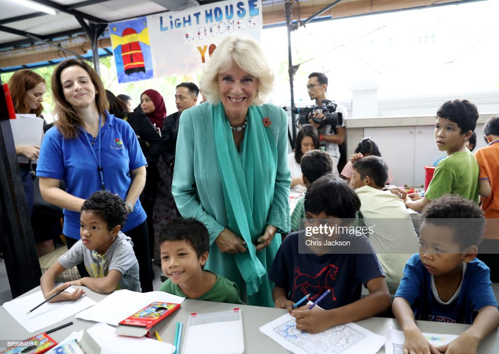 Camilla, Duchess of Cornwall (C) visits The Lost Food Project and Lighthouse Children's Welfare Centre during her visit on November 4, 2017 in Kuala Lumpur, Malaysia. The Lost Food Project collects surplus food from supermarkets and manufacturers in Malaysia and distributes it to those who really need it. The Lighthouse Children's Welfare Home houses 60 disadvantaged children, aged one to 18 years old. Prince Charles, Prince of Wales and Camilla, Duchess of Cornwall are on a tour of Singapore, Malaysia, Brunei and India.