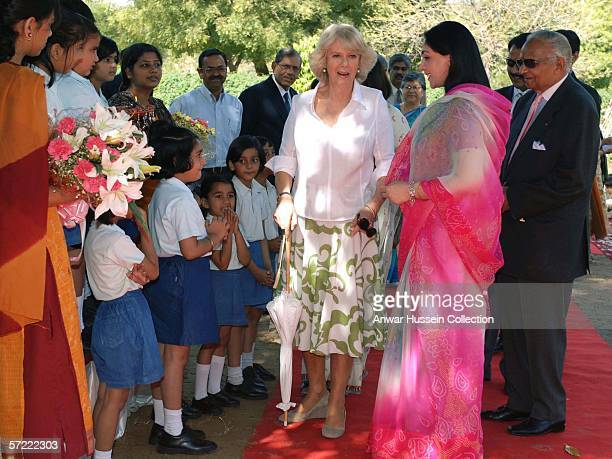 Camilla Duchess of Cornwall visits the Montessori Palace School in Jaipur on the final day of a 12 day official tour visiting Egypt Saudi Arabia and...