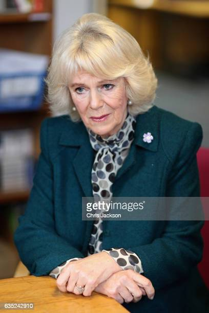 Camilla Duchess of Cornwall visits the offices of Women's Aid during her tour of Bristol on February 14 2017 in Bristol England