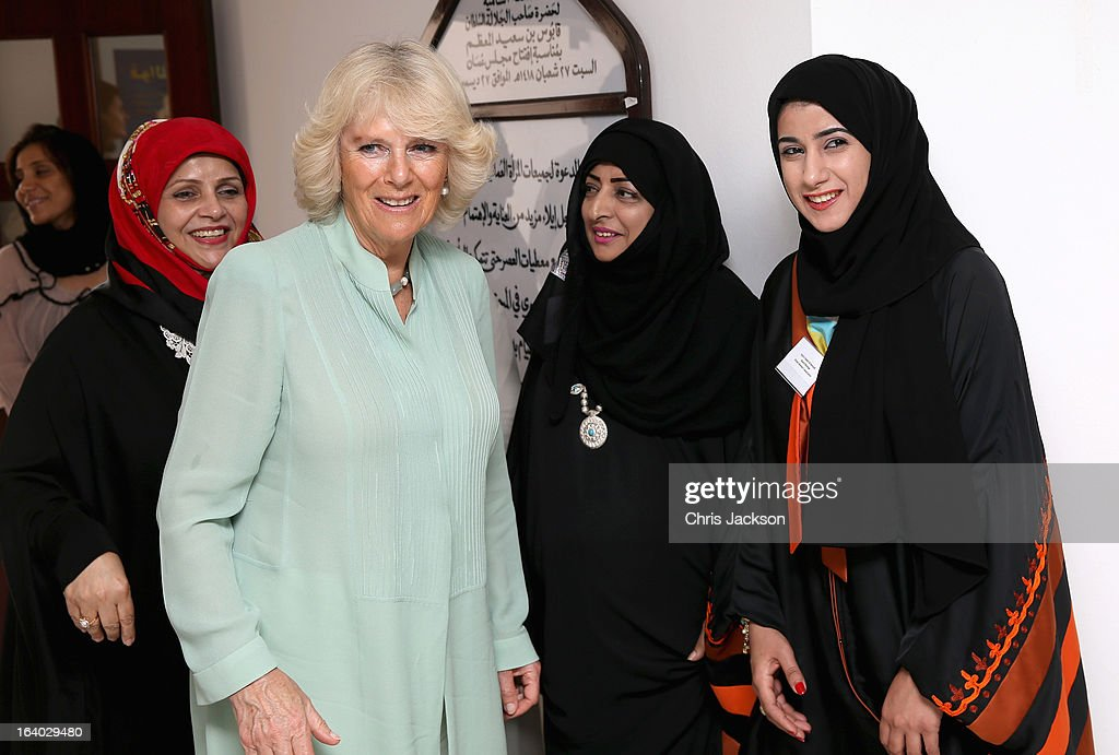 <a gi-track='captionPersonalityLinkClicked' href=/galleries/search?phrase=Camilla+-+Duchess+of+Cornwall&family=editorial&specificpeople=158157 ng-click='$event.stopPropagation()'>Camilla</a>, Duchess of Cornwall visits the Omani Women's Association in Muscat on the ninth day of a tour of the Middle East on March 19, 2013 in Muscat, Oman. The Royal couple are on the fourth and final leg of a tour of the Middle East taking in Jordan, Qatar, Saudia Arabia and Oman.