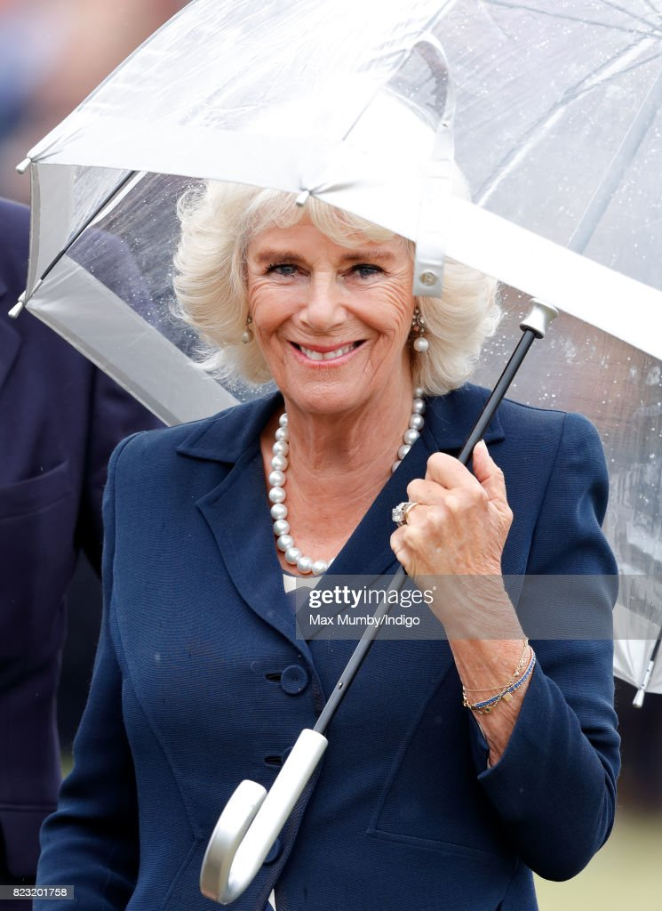 Camilla, Duchess of Cornwall visits the Sandringham Flower Show in the grounds of Sandringham House on July 26, 2017 in King's Lynn, England. The Prince of Wales is Patron of The Sandringham Estate Cottage Horticultural Society.