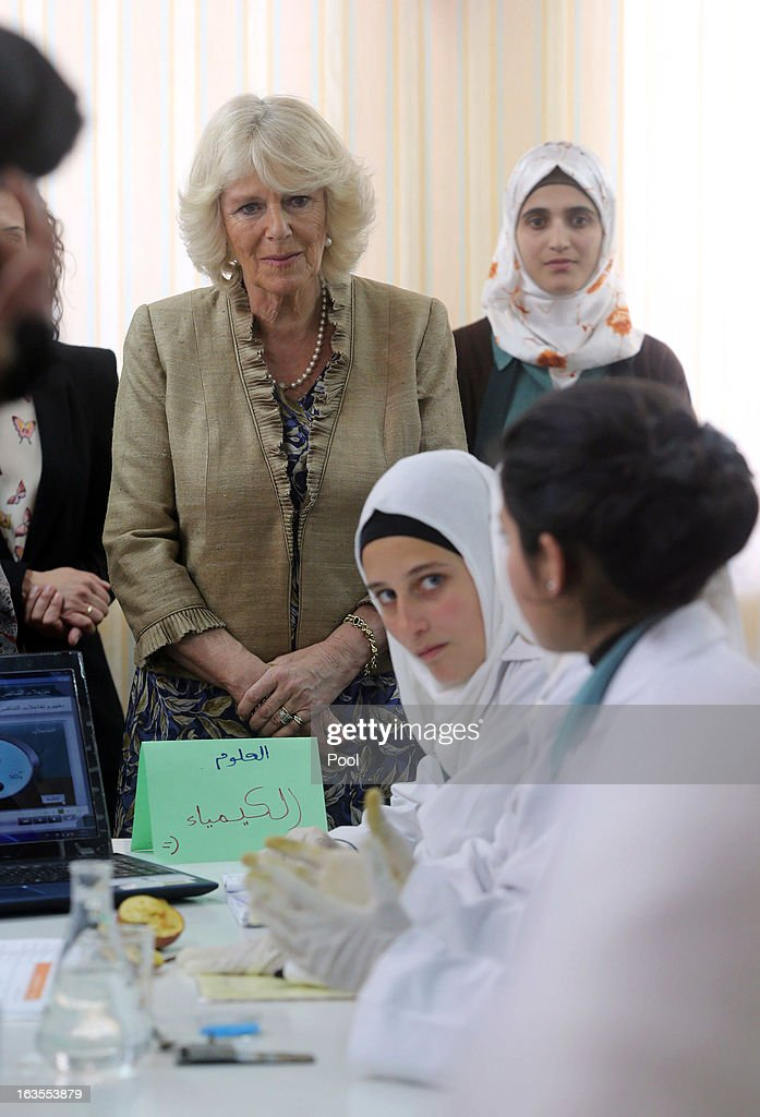 Camilla, Duchess of Cornwall visits with Queen Rania of Jordan the secondary school of Mahis on the second day of Charles and Camilla's visit to the country on March 12, 2013, in Amman, Jordan. The Royal couple are on the first leg of a tour of the Middle East taking in Qatar, Saudia Arabia and Oman.