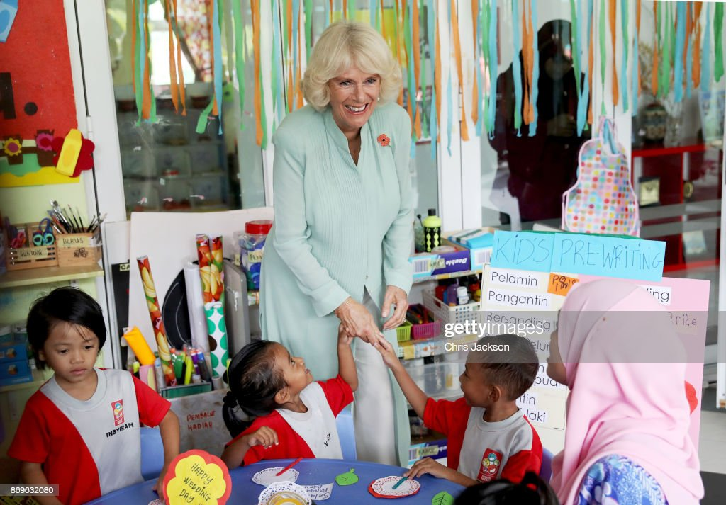 Camilla, Duchess of Cornwall, visits with the children at Pusat Anak Permata Negara (PAPN) Putrajaya during their visit on November 3, 2017 in Kuala Lumpur, Malaysia. Prince Charles, Prince of Wales and Camilla, Duchess of Cornwall are on a tour of Singapore, Malaysia, Brunei and India.