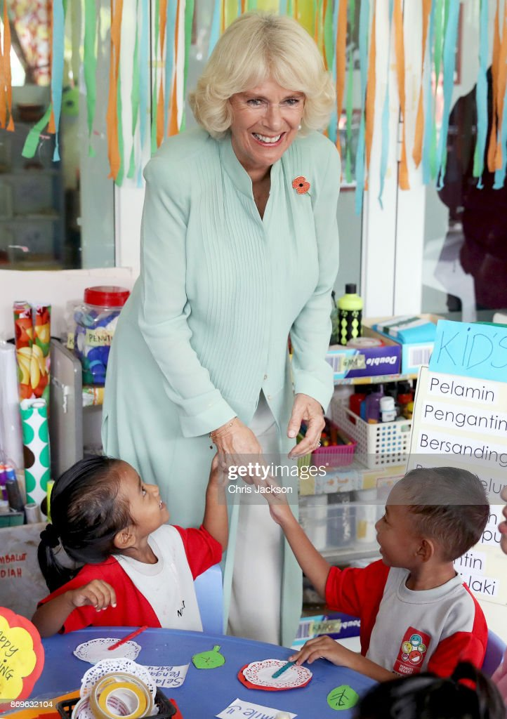 Camilla, Duchess of Cornwall, visits with the children at Pusat Anak Permata Negara (PAPN) Putrajaya during their visit on November 3, 2017 in Kuala Lumpur, Malaysia. Prince Charles, Prince of Wales and Camilla, Duchess of Cornwall are on a tour of Singapore, Malaysia, Brunei and India.