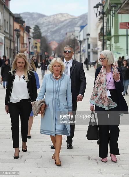 Camilla Duchess of Cornwall walks in the town center with her current biographer Penny Junor on March 18 2016 in Cetinje Montenegro The Prince and...