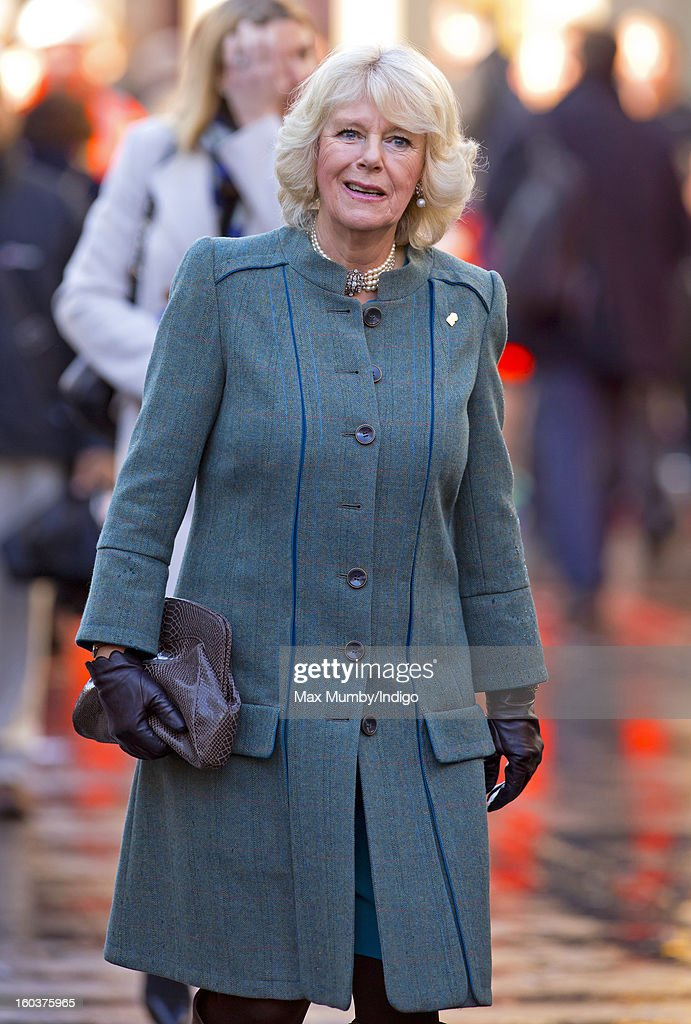 Camilla, Duchess of Cornwall walks to Farringdon Underground Station, after viewing the nearby Crossrail development site, to travel on a Metropolitan line underground train to King's Cross on January 30, 2013 in London, England. The Prince of Wales and The Duchess of Cornwall are marking the 150th anniversary of London Underground to emphasise the importance of engineering and infrastructure development in the UK.