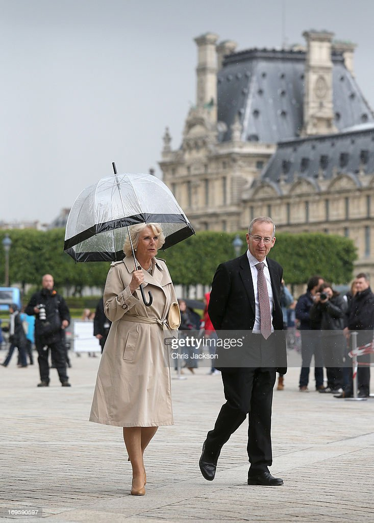 <a gi-track='captionPersonalityLinkClicked' href=/galleries/search?phrase=Camilla+-+Duchess+of+Cornwall&family=editorial&specificpeople=158157 ng-click='$event.stopPropagation()'>Camilla</a>, Duchess of Cornwall walks to the Louve with Ambassador Sir Peter Ricketts on May 28, 2013 in Paris France. <a gi-track='captionPersonalityLinkClicked' href=/galleries/search?phrase=Camilla+-+Duchess+of+Cornwall&family=editorial&specificpeople=158157 ng-click='$event.stopPropagation()'>Camilla</a> is on her first overseas solo engagement for a two day visit to Paris in support of the homeless charity EMMAUS of which she is patron.