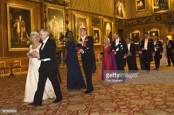 Camilla Duchess of Cornwall walks with Minister for Justice Jack Straw French Junior Minister for foreign affairs and human rights Rama Yade and...