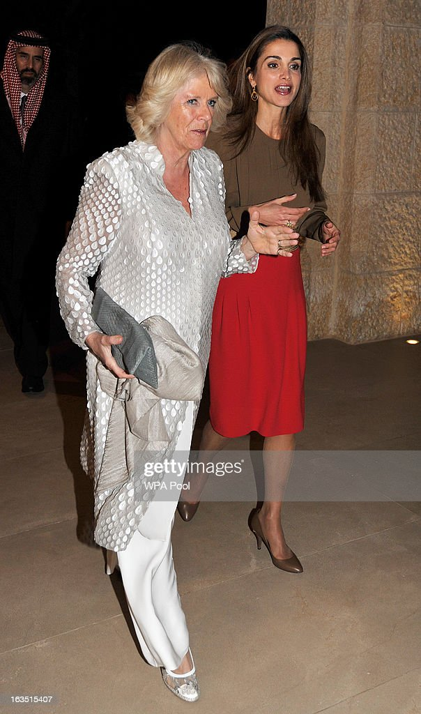 Camilla, Duchess of Cornwall walks with Queen Rania of Jordan as they arrive for a private dinner on March 11, 2013 in Amman, Jordan. Prince Charles, the Prince of Wales and Camilla, Duchess of Cornwall are on a nine day tour of the Middle East, during which they will be visiting Jordan, Qatar, Saudi Arabia and Oman.