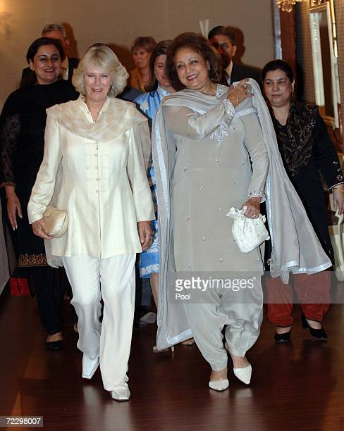 Camilla Duchess of Cornwall walks with Sebha Musharraf prior to a meeting at the Presidency on day two of a week long royal tour of the country on...