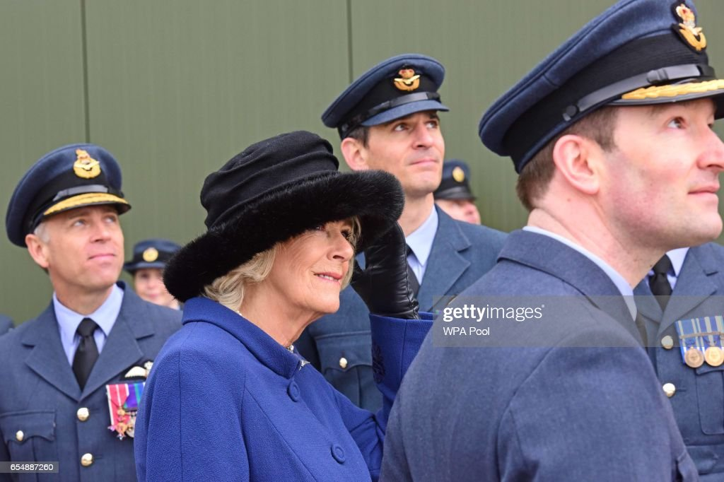 Camilla, Duchess of Cornwall watches a fly past during a visit to RAF Leeming for the 100 Squadron Centenary on March 18, 2017 in Gatenby, Northallerton, England.