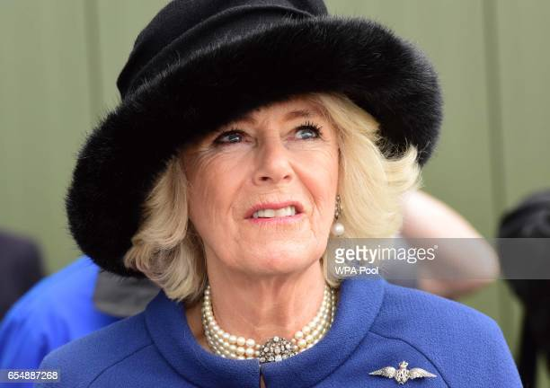 Camilla Duchess of Cornwall watches a fly past during a visit to RAF Leeming for the 100 Squadron Centenary on March 18 2017 in Gatenby Northallerton...