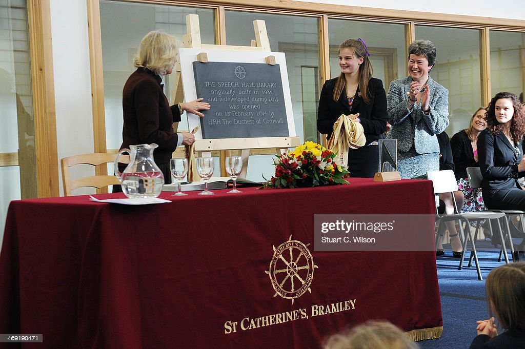 Camilla, Duchess Of Cornwall watches a presentation as she visits St Catherine's School in Bramley, Surrey on February 13, 2014 in Guildford, England.