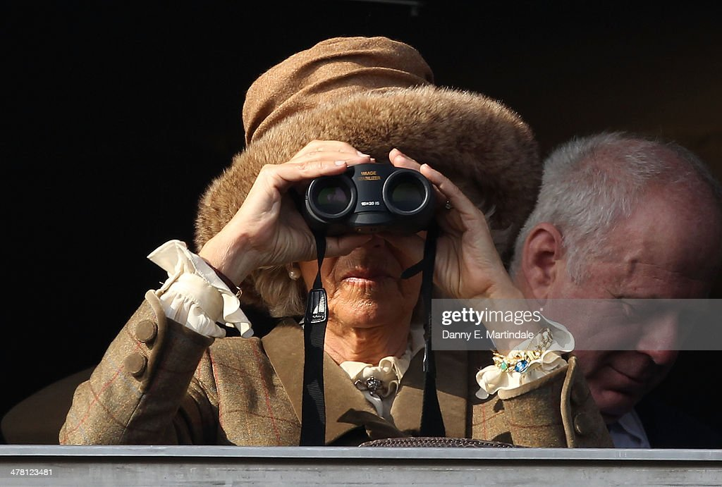 <a gi-track='captionPersonalityLinkClicked' href=/galleries/search?phrase=Camilla+-+Duchess+of+Cornwall&family=editorial&specificpeople=158157 ng-click='$event.stopPropagation()'>Camilla</a>, Duchess of Cornwall watches the first race on Ladies Day, day 2 of The Cheltenham Festival at Cheltenham Racecourse on March 12, 2014 in Cheltenham, England.