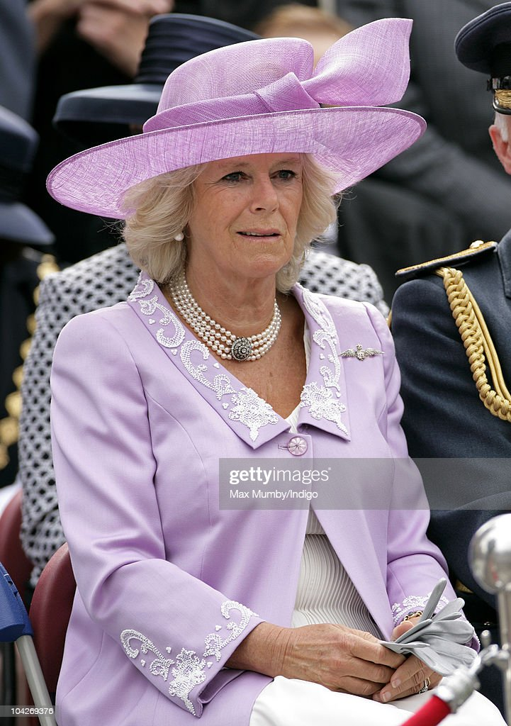 Camilla Duchess of Cornwall watches the parade and flypast as she attends the Battle of Britain 70th Anniversary Service at Westminster Abbey on September 19, 2010 in London, England.
